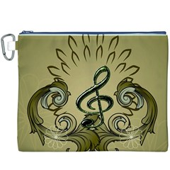 Decorative Clef With Damask In Soft Green Canvas Cosmetic Bag (xxxl)