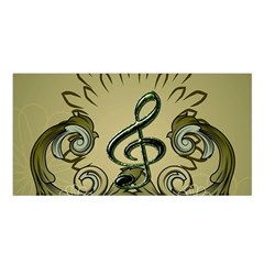 Decorative Clef With Damask In Soft Green Satin Shawl