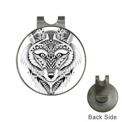 Ornate Foxy Wolf Hat Clip With Golf Ball Marker