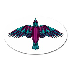 Stained Glass Bird Illustration  Oval Magnet