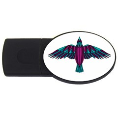 Stained Glass Bird Illustration  USB Flash Drive Oval (2 GB)