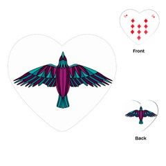 Stained Glass Bird Illustration  Playing Cards (Heart)