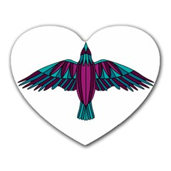 Stained Glass Bird Illustration  Heart Mousepads