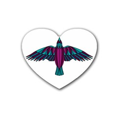 Stained Glass Bird Illustration  Heart Coaster (4 pack)