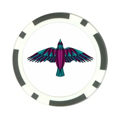 Stained Glass Bird Illustration  Poker Chip Card Guards