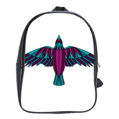Stained Glass Bird Illustration  School Bags(Large)