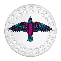Stained Glass Bird Illustration  Ornament (round Filigree)