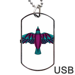 Stained Glass Bird Illustration  Dog Tag USB Flash (Two Sides)