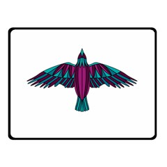 Stained Glass Bird Illustration  Double Sided Fleece Blanket (Small)