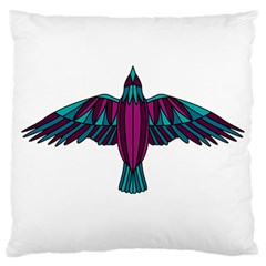 Stained Glass Bird Illustration  Large Flano Cushion Cases (One Side)