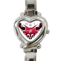 Fox Logo Red Gradient  Heart Italian Charm Watch