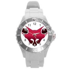 Fox Logo Red Gradient  Round Plastic Sport Watch (L)