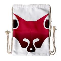 Fox Logo Red Gradient  Drawstring Bag (Large)