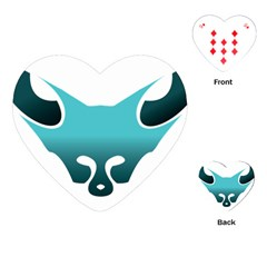 Fox Logo Blue Gradient Playing Cards (heart)