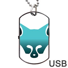 Fox Logo Blue Gradient Dog Tag USB Flash (Two Sides)