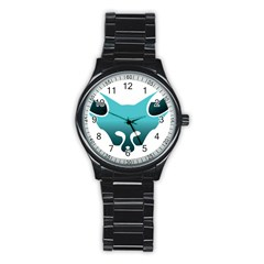 Fox Logo Blue Gradient Stainless Steel Round Watches