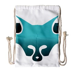 Fox Logo Blue Gradient Drawstring Bag (Large)