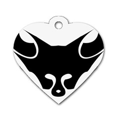 Black Fox Logo Dog Tag Heart (One Side)