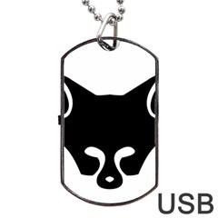 Black Fox Logo Dog Tag USB Flash (One Side)