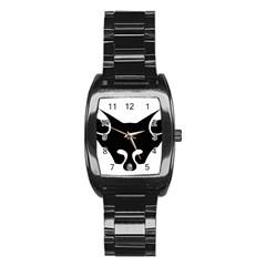 Black Fox Logo Stainless Steel Barrel Watch