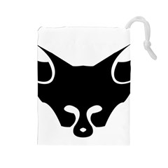 Black Fox Logo Drawstring Pouches (Large)