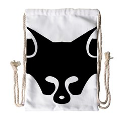 Black Fox Logo Drawstring Bag (Large)