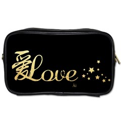 Love(ai) Gold Travel Toiletry Bag (two Sides)