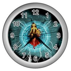 Beautiful Witch With Magical Background Wall Clocks (Silver)
