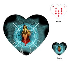 Beautiful Witch With Magical Background Playing Cards (heart)
