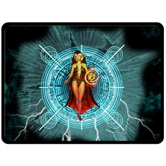 Beautiful Witch With Magical Background Fleece Blanket (large)