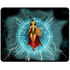 Beautiful Witch With Magical Background Fleece Blanket (Medium)