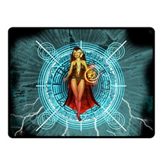 Beautiful Witch With Magical Background Fleece Blanket (Small)
