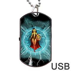 Beautiful Witch With Magical Background Dog Tag Usb Flash (one Side)