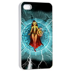 Beautiful Witch With Magical Background Apple Iphone 4/4s Seamless Case (white)