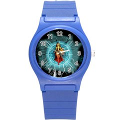 Beautiful Witch With Magical Background Round Plastic Sport Watch (S)