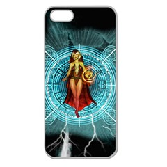 Beautiful Witch With Magical Background Apple Seamless iPhone 5 Case (Clear)