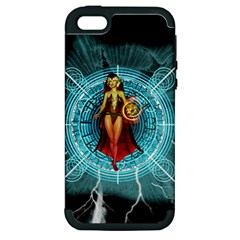 Beautiful Witch With Magical Background Apple iPhone 5 Hardshell Case (PC+Silicone)