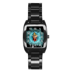 Beautiful Witch With Magical Background Stainless Steel Barrel Watch