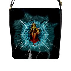 Beautiful Witch With Magical Background Flap Messenger Bag (L)