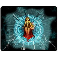 Beautiful Witch With Magical Background Double Sided Fleece Blanket (Medium)