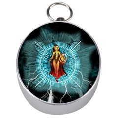 Beautiful Witch With Magical Background Silver Compasses