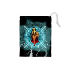 Beautiful Witch With Magical Background Drawstring Pouches (Small)
