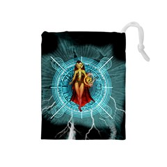 Beautiful Witch With Magical Background Drawstring Pouches (Medium)