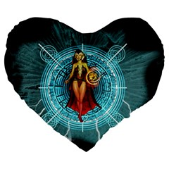 Beautiful Witch With Magical Background Large 19  Premium Flano Heart Shape Cushions