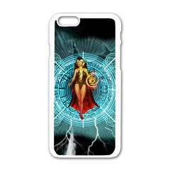 Beautiful Witch With Magical Background Apple iPhone 6/6S White Enamel Case