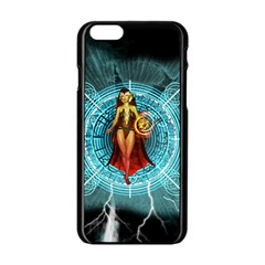 Beautiful Witch With Magical Background Apple iPhone 6/6S Black Enamel Case