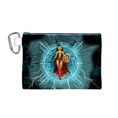 Beautiful Witch With Magical Background Canvas Cosmetic Bag (M)