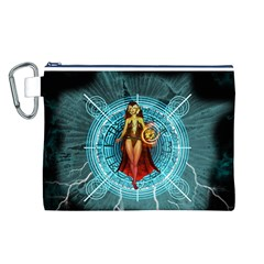 Beautiful Witch With Magical Background Canvas Cosmetic Bag (L)