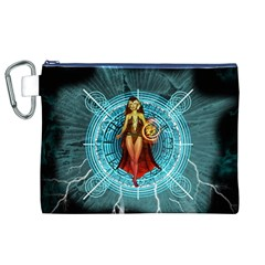 Beautiful Witch With Magical Background Canvas Cosmetic Bag (xl)