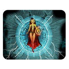 Beautiful Witch With Magical Background Double Sided Flano Blanket (large)
